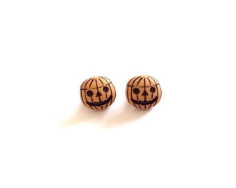 2 Pumpkin Vintage Buttons, Orange, Halloween