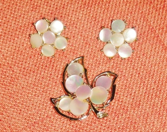 Vintage  Earrings and Brooch Marhill  Mother of Pearl