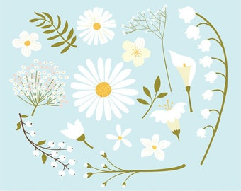 White flowers clip art images,  white flowers vector, royalty free clip art- Instant Download