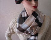 Nordstrom cashmere scarf in brown, gray, tan and charcol stripes