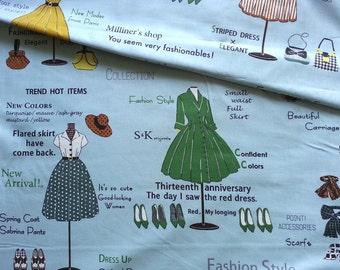 Japanese Fabric Cotton Yuwa - Suzuko Koseki - Show Window Blue - a yard