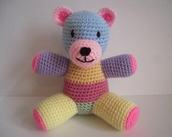 Crocheted Stuffed Amigurumi Patchwork Teddy Bear