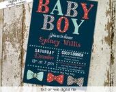 bow tie baby shower invitation little gentleman baby boy shower baptism christening couples shower bash (item 1254) shabby chic invitations