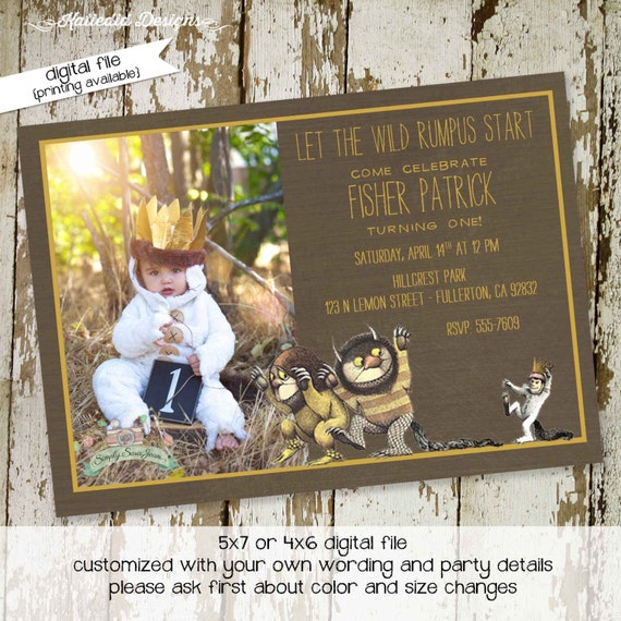 where the wild things are invitations birthday by katiedidesigns