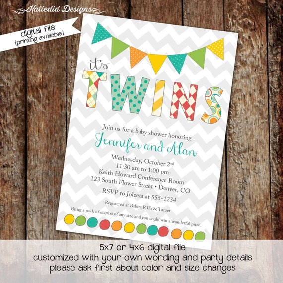 twin baby shower invitation polka dots bunting banner chevron sip and see baby sprinkle birthday diaper (item 1521) shabby chic invitations