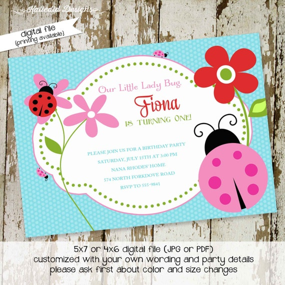 ladybug birthday invitation baby girl shower sprinkle diaper couples baptism sip and see lady bug party (item 262) shabby chic invitations