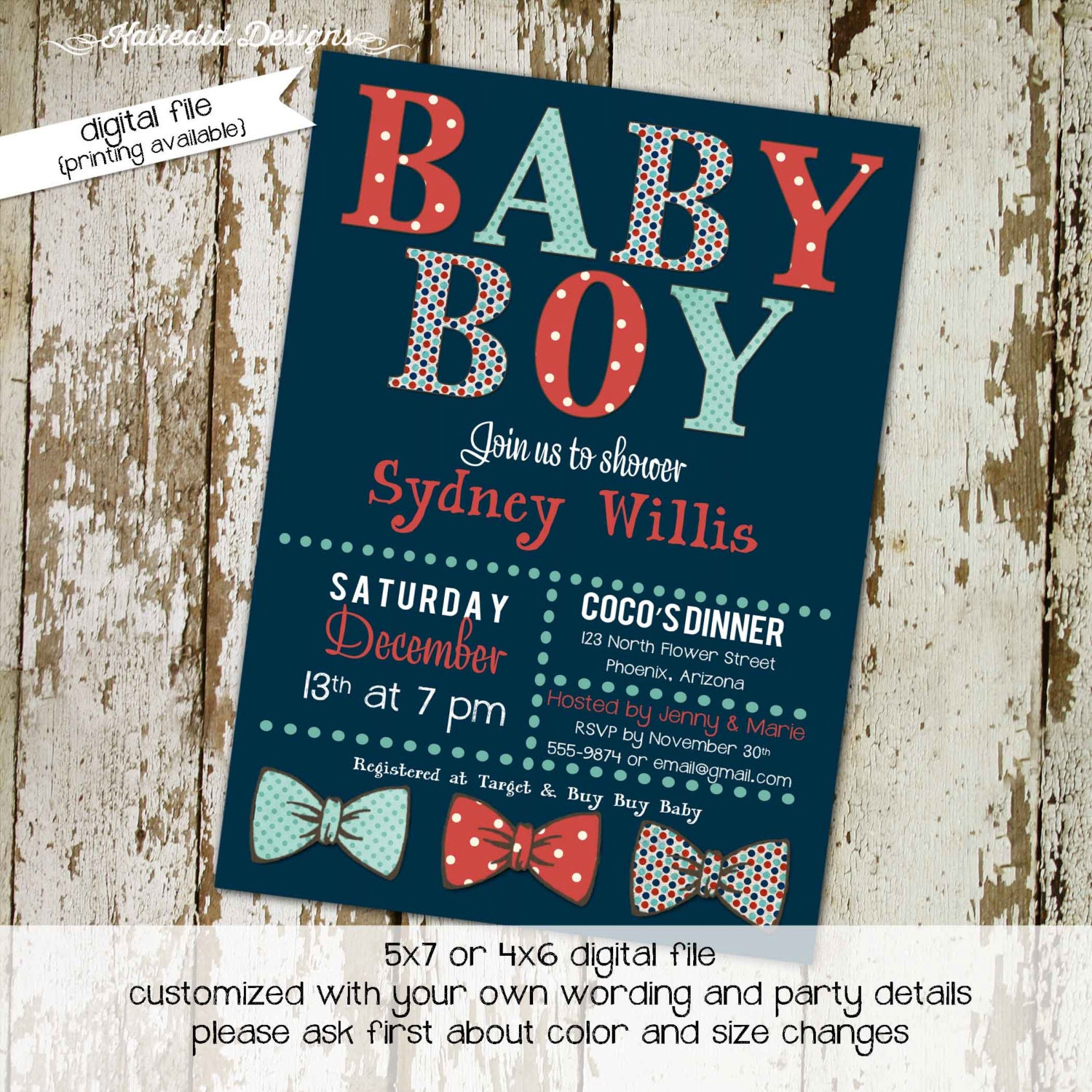 bow tie baby shower invitation little gentleman by katiedidesigns