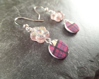 Scottish Plaid Tartan Earrings with Flower Beads in Pink Raspberry Menzies, Highland Dance Jewelry, Gift for Teen