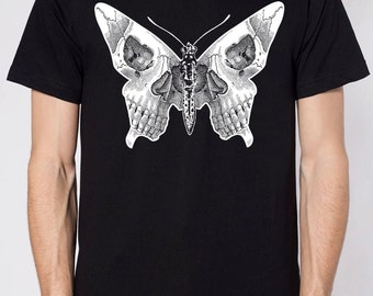mens butterfly skull shirt- American Apparel black- available in S, M, L , XL, XXL WorldWide Shipping