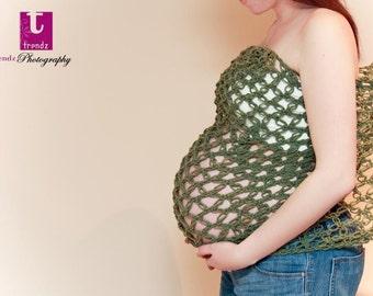 Crochet Maternity belly wrap. Maternity prop. Sage. Belly sash .Fashion wrap. Scarlette. Lovers knot. Solomons knot