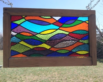 Multicolored Leaded Stained Glass Panel