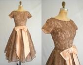 Vintage 1950s Dress / Brown and Pink Lace / Vintage Prom Dress