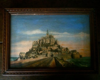 Vintage French Le Mont Saint Michel Painted Photograph or Print in Wood Frame / English Shop