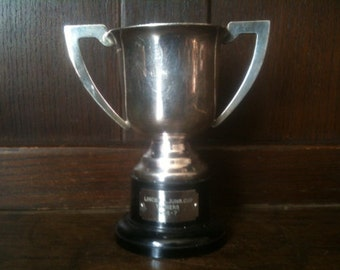 Vintage English Engraved Trophy Cup Lincs F.A. Junr Cup Winners Football Trophies circa 1950's / English Shop