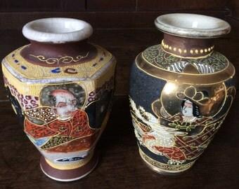 Vintage Japanese Asian vases vase mismatched pair circa 1950's / English Shop