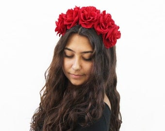 Red Rose Flower Crown, Red Rose Headband, Frida Kahlo, Flower Crown, Red, Floral Crown, Red Rose Crown, Rose Headpiece, Red Rose Crown, Boho