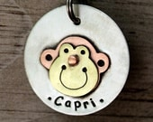 Large Dog ID tag - personalized Monkey pet tag
