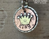 Small Pet ID tag- Mini Crown for small dogs and cats- King