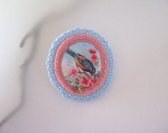 victorian felt brooch with bird - natural history brooch - woodlands brooch - pink and sky blue lightweight brooch - pastel colors brooch