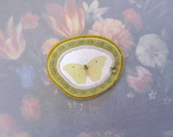 celery and mustard butterfly brooch - minimal green brooch - yellow butterfly brooch pin - yellow pin broach - delicate butterfly brooch