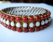 Vintage Empire Bracelet Expanding Red and White 40's 50's