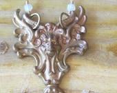Gothic Gargoyle North Wind Necklace - Vintage Brass Original Patina