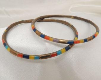Vintage Colored Inlay Bracelets