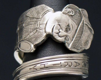 Spoon Ring, Vintage Charlie McCarthy 1964 The Detective Novelty Spoon Ring  size 7, Silverware Jewelry