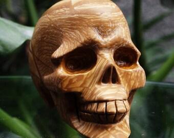 """SMILING 3.5"""" Natural Serpeggiante Carved Crystal Skull 13.58 OZ C0513"""