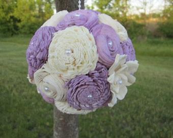 Purple sola flower kissing ball - Lavender and Cream