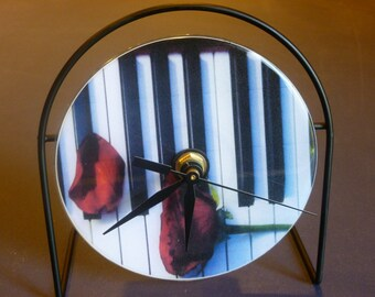 Piano and Roses Recycled CD Clock Art