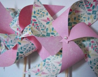 Baby Girl Shower Pinwheels. Girls Nursery Decor. Teal Pink Aqua Cream (set of 8) Blossom / Springtime
