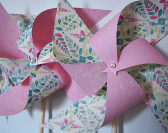 Girls' Baby Shower or Nursery Decor. 8 Springtime Pinwheels in Pink Aqua Cream.