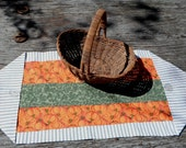Table Runner, Fall, Pumpkins, Primitive, Strip Pieced. One of a Kind, HANDMADE by me in USA, HHCOFG