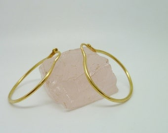 18k Gold Hoops Earrings - Thin, 1 inch hoops Simple