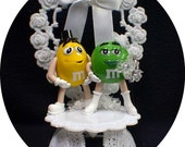 Wedding Cake topper with Cute Mr Yellow and Mrs Green MM figure M&M candy funny