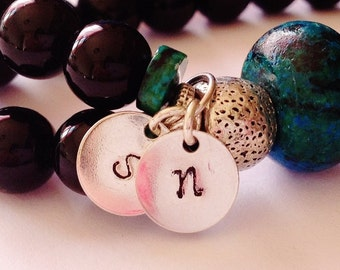 Add a Personalized Charm or two,  Initial, disc stamped, birthstone, gift, prayer beads
