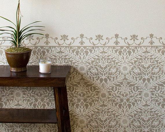 Moroccan trellis stencil stenciled wall designs for exotic - Pochoir mural a peindre ...