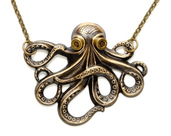 Steampunk Necklace Steampunk Jewelry OCTOPUS Necklace Kraken Cthulhu Necklace Steampunk Goggles Steam Punk Jewelry By Victorian Curiosities