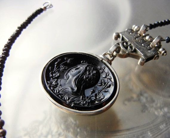 Long Necklace with Antique Victorian Jet Black Cameo Pendant - Upcycled Jewelry