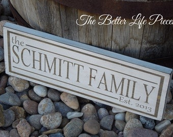 Custom Painted Family Name Established Wood Sign