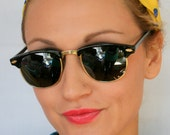 90s CLUBMASTER Style Black Sunglasses...retro. colorful shades. urban. hipster. clubmaster. shades. indie. chic. black. sunglasses. boho