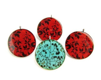 4 Large Colorful Resin Pendants / Red and Turquoise