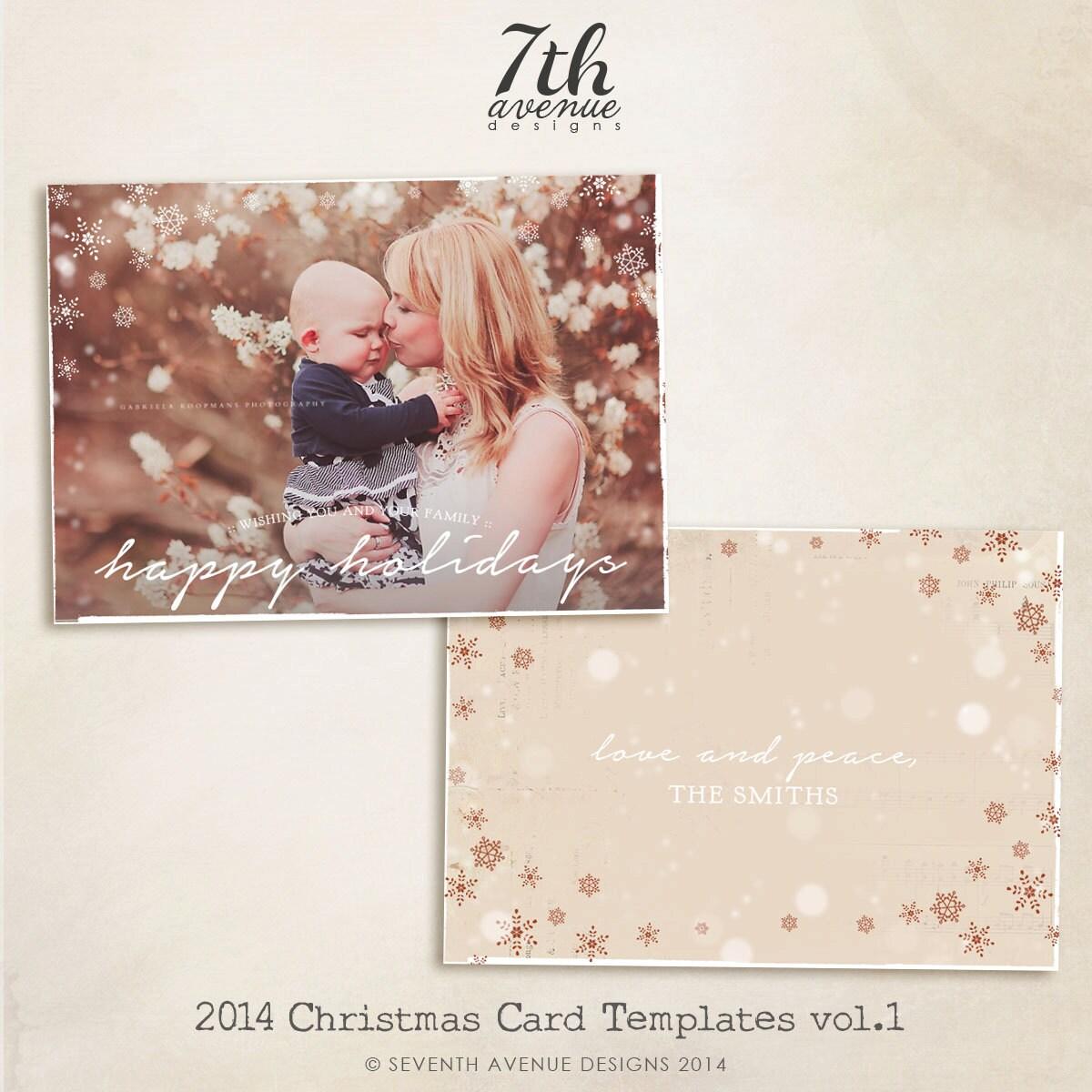 2014 Christmas Card Templates Vol.1 7x5 Inch Card Template