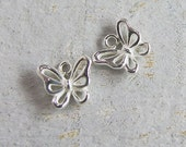 4 of 925 Sterling Silver Small Butterfly Charms 6.5x8 mm. :th2059
