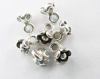 6 of Karen Hill Tribe Silver Flower Charms 7 mm. :ka2917