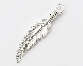 4 of 925 Sterling Silver Feather Charms  5x23.5 mm. :th1727
