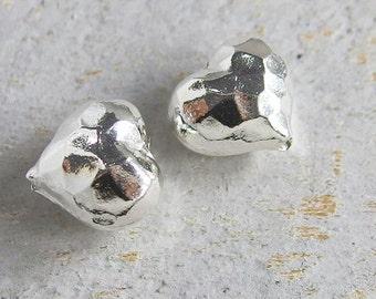 2 of Karen Hill Tribe Silver Hammered Heart Beads 12x13mm. :ka3903
