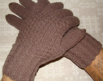 Men gloves- hand knitted, warm (tan color)