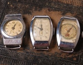 Set of 3 Vintage watch movement, watch parts, watch dials, cases, letters STAR